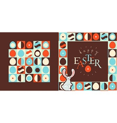 Happy easter greeting card design retro style eggs vector
