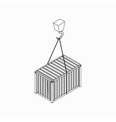 Crane lifts container icon isometric 3d style vector