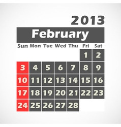 Calendar 2013 February vector image