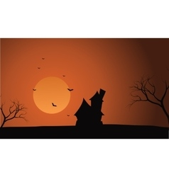 At afternoon halloween castle scenery vector