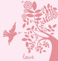 Love tree dove vector