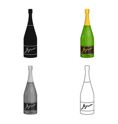 Bottle of champagne icon in cartoon style isolated vector