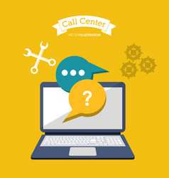 Call center online computer technology vector
