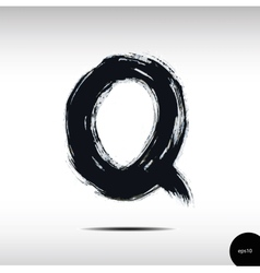 Calligraphic watercolor letter q vector