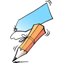 Cartoon of an writing pencil and a memorandum vector