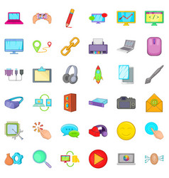 Computer icons set cartoon style vector