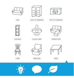 corner sofa table and armchair icons vector image vector image