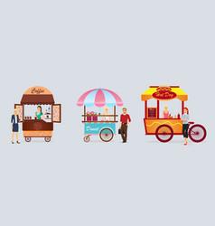 creative detailed street coffee cart donat vector image