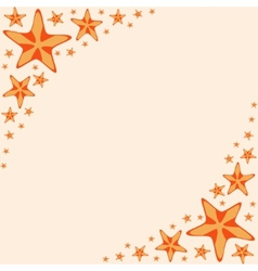 Decorative frame with orange cartoon starfishes vector