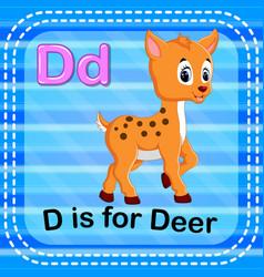 Flashcard letter d is for deer vector