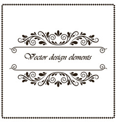 Frame border with black curls on a white vector