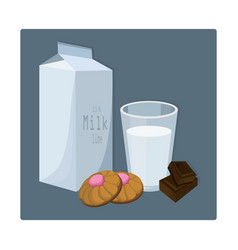 Glass of milk with biscuits blue vector