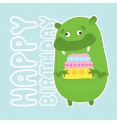 Green birthday monster vector