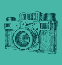 hipster photo camera engraved retro style hand vector image