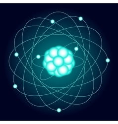 Illuminated model of an oxygen atom on a dark vector