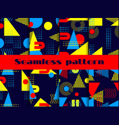memphis seamless pattern set geometric elements vector image
