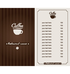 Menu for the cafe vector