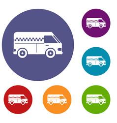 Minibus taxi icons set vector