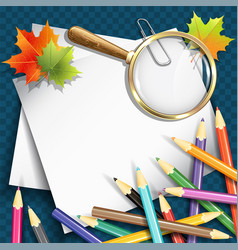 paper sheets pencils and magnifying glasses vector image