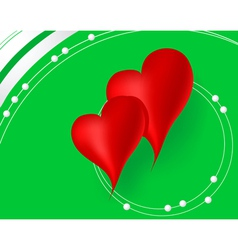 Red hearts in green background vector