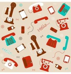 retro and modern telephones background vector image vector image