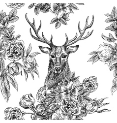 Seamless patternr with deer and flowers vector