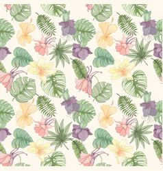 Seamless tropical palm leaves and flowers pattern vector