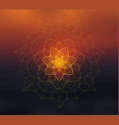 shiny floral mandala on sunset blurred background vector image vector image