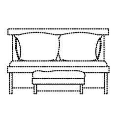 sofa bed with double pillows and wooden chair vector image