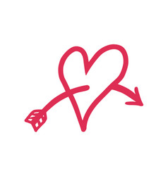 thin line love struck heart icon vector image vector image