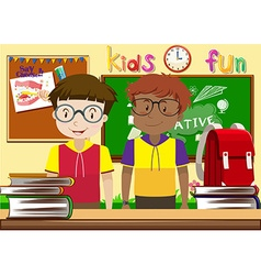 Two boys in the classroom vector