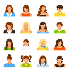 Woman Avatar Icons Set vector image vector image
