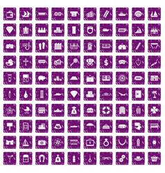 100 wealth icons set grunge purple vector