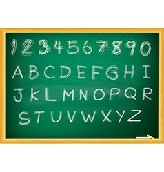 Abc alphabet type font set of on blackboard eps 10 vector