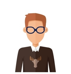 Stylish young man in glasses avatar or userpic vector