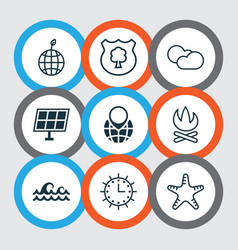 Set of 9 eco-friendly icons includes sun clock vector