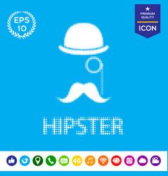 hipster - halftone logo vector image