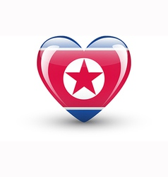 Heart-shaped icon with flag of north korea vector