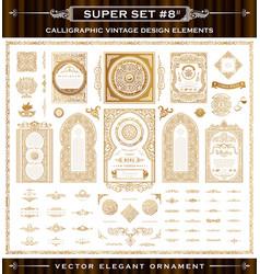 Calligraphic vintage elements baroque set vector