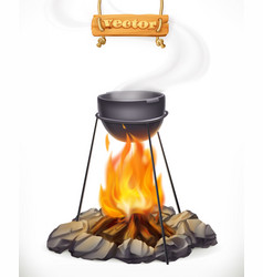 Pot over the campfire camping outdoor cooking 3d vector