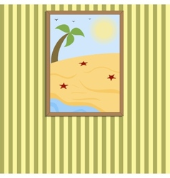 Picture in a frame on a wall vector image