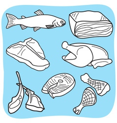 meat fish and poultry vector image