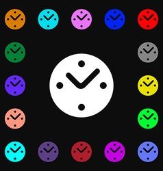Mechanical clock icon sign lots of colorful vector