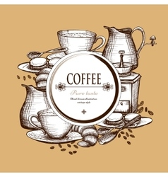 Coffee set vintage style composition poster vector