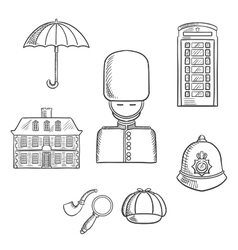 United kingdom travel sketched icons vector