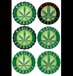 Medical cannabis leaf design stamps vector