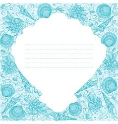 Card design with sea shells vector
