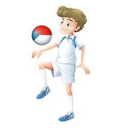 A boy playing with the ball from Czech Republic vector image vector image