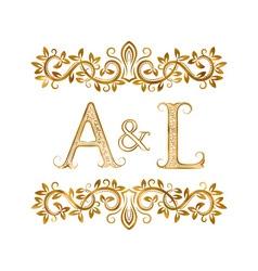 Al vintage initials logo symbol letters a l vector