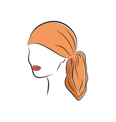 beautiful young woman in an orange head bandana vector image